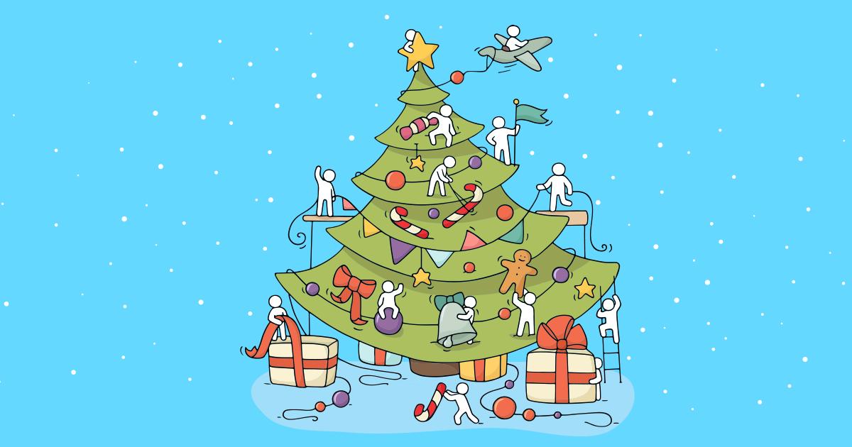 En dekorerad julgran